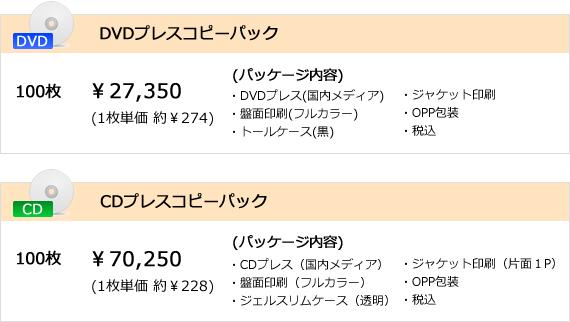 DVDプレスコピーパック価格表